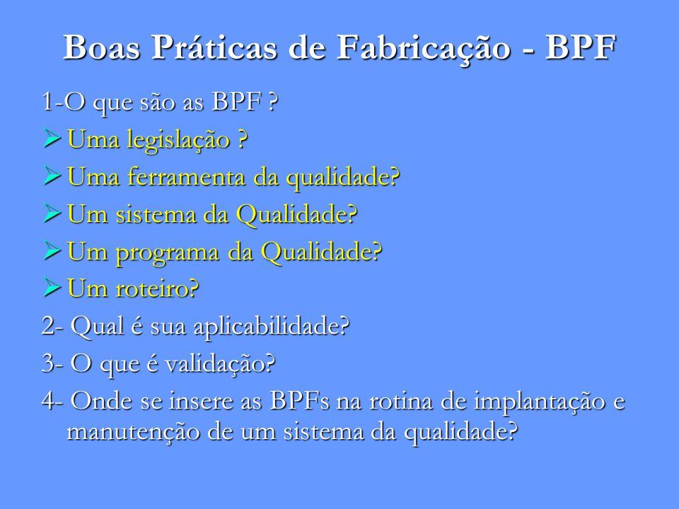 Boas Práticas de Fabricação - BPF 1-O que são as BPF ?  Uma legislação ?  Uma ferramenta da qualidade?  Um sistema da Qualidade?  Um programa da Q
