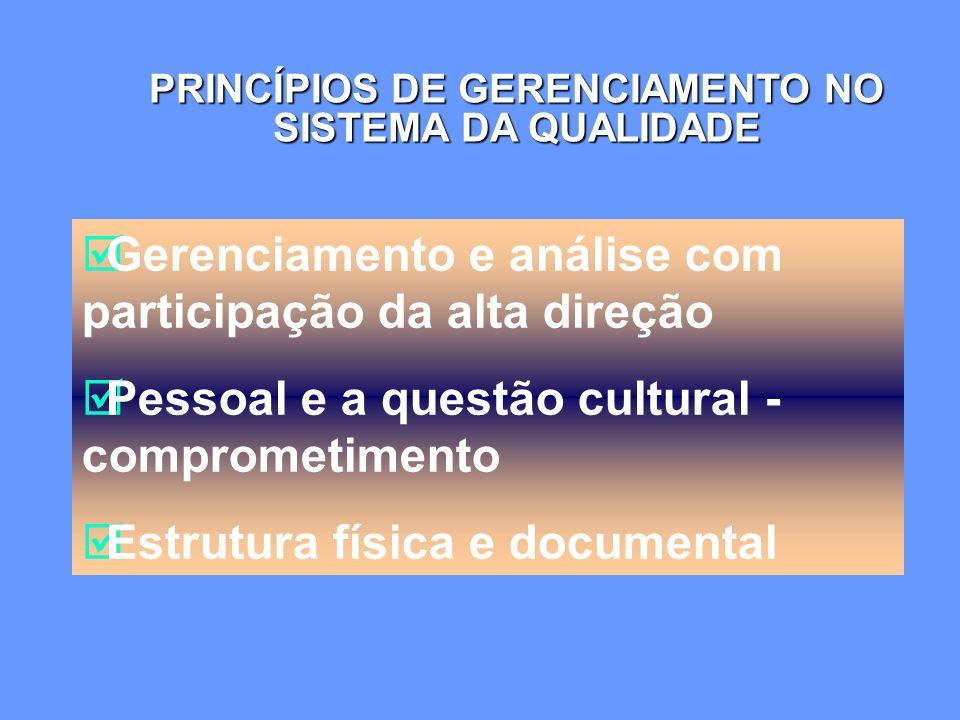  Gerenciamento e análise com participação da alta direção  Pessoal e a questão cultural - comprometimento  Estrutura física e documental PRINCÍPIOS DE GERENCIAMENTO NO SISTEMA DA QUALIDADE