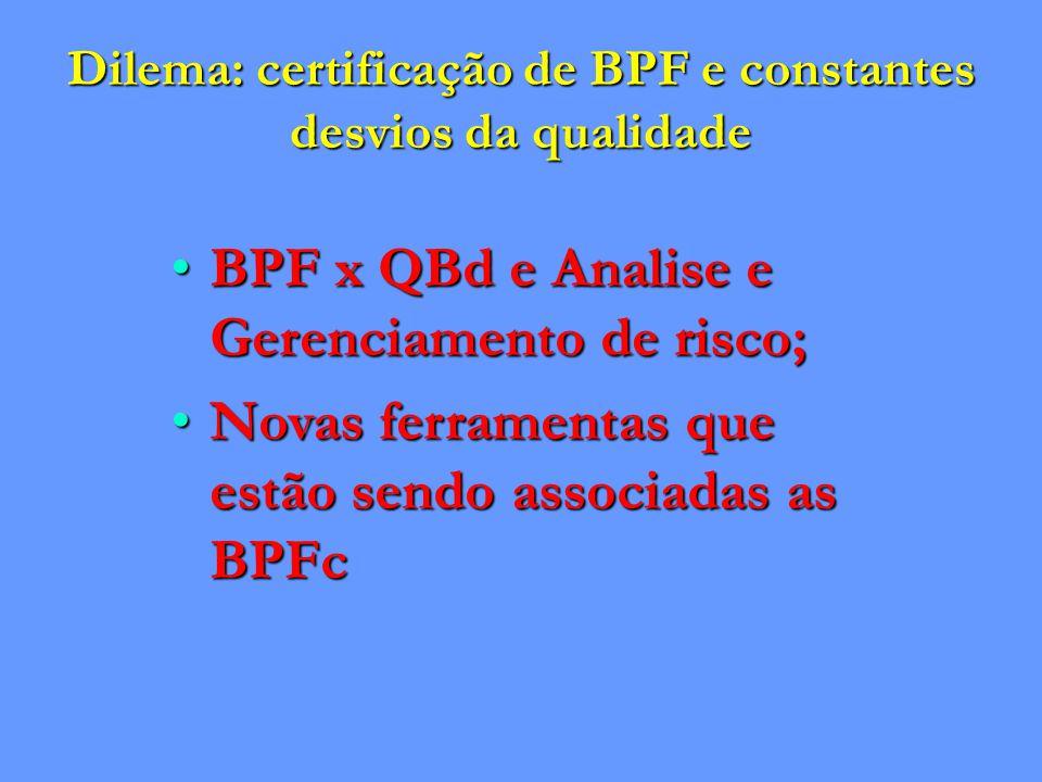 Dilema: certificação de BPF e constantes desvios da qualidade BPF x QBd e Analise e Gerenciamento de risco;BPF x QBd e Analise e Gerenciamento de risco; Novas ferramentas que estão sendo associadas as BPFcNovas ferramentas que estão sendo associadas as BPFc
