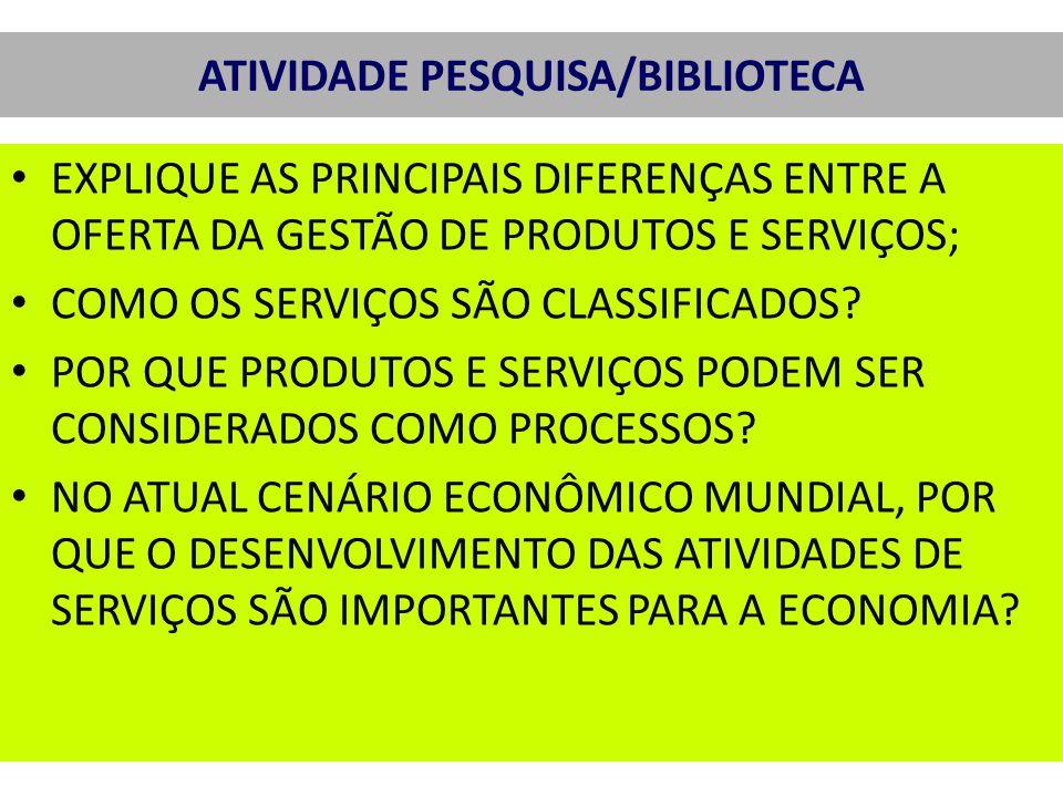 ATIVIDADE PESQUISA/BIBLIOTECA EXPLIQUE AS PRINCIPAIS DIFERENÇAS ENTRE A OFERTA DA GESTÃO DE PRODUTOS E SERVIÇOS; COMO OS SERVIÇOS SÃO CLASSIFICADOS.
