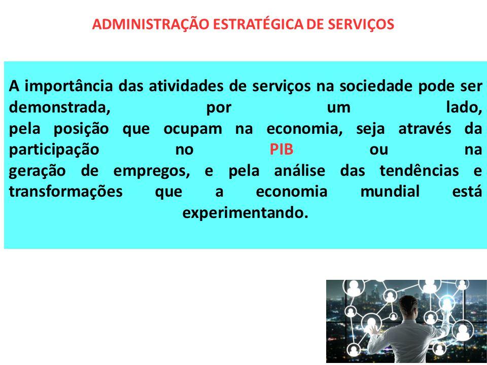 A importância das atividades de serviços na sociedade pode ser demonstrada, por um lado, pela posição que ocupam na economia, seja através da particip
