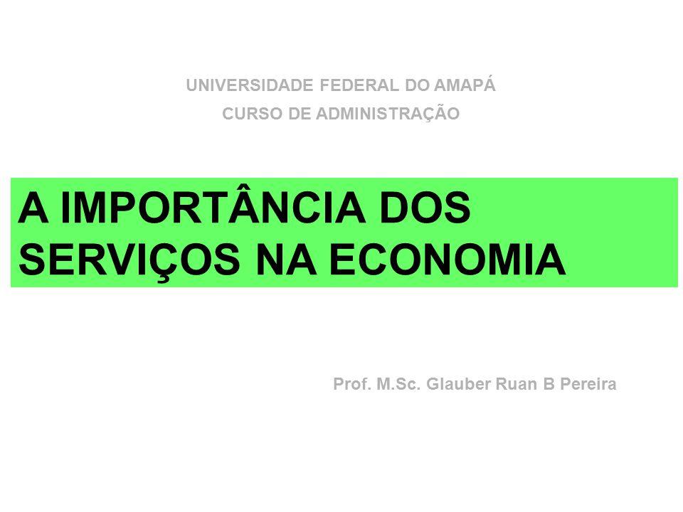 A IMPORTÂNCIA DOS SERVIÇOS NA ECONOMIA Prof. M.Sc. Glauber Ruan B Pereira UNIVERSIDADE FEDERAL DO AMAPÁ CURSO DE ADMINISTRAÇÃO