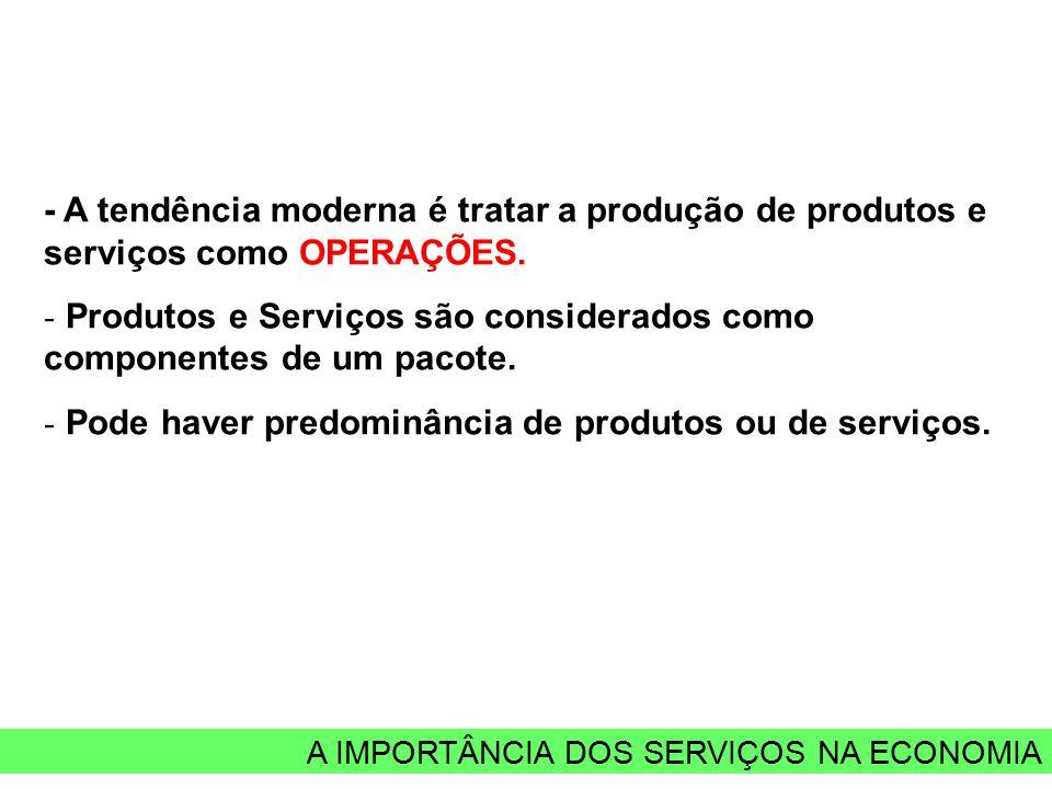 A IMPORTÂNCIA DOS SERVIÇOS NA ECONOMIA - A tendência moderna é tratar a produção de produtos e serviços como OPERAÇÕES. - Produtos e Serviços são cons