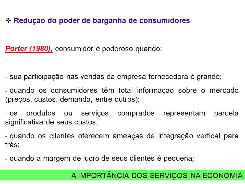 A IMPORTÂNCIA DOS SERVIÇOS NA ECONOMIA  Redução do poder de barganha de consumidores Porter (1980), consumidor é poderoso quando: - sua participação