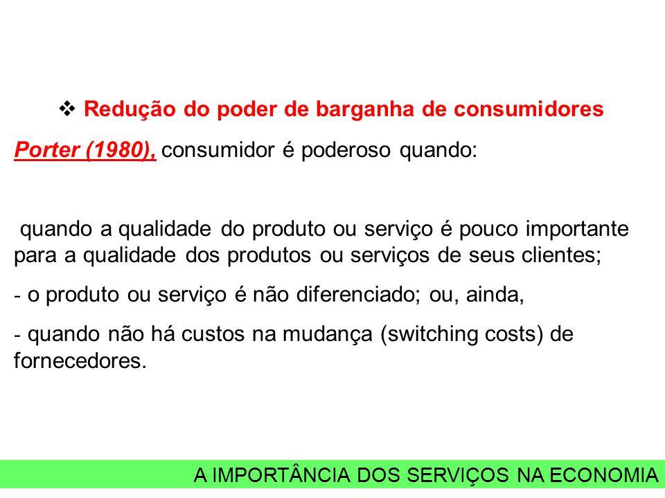 A IMPORTÂNCIA DOS SERVIÇOS NA ECONOMIA  Redução do poder de barganha de consumidores Porter (1980), consumidor é poderoso quando: quando a qualidade