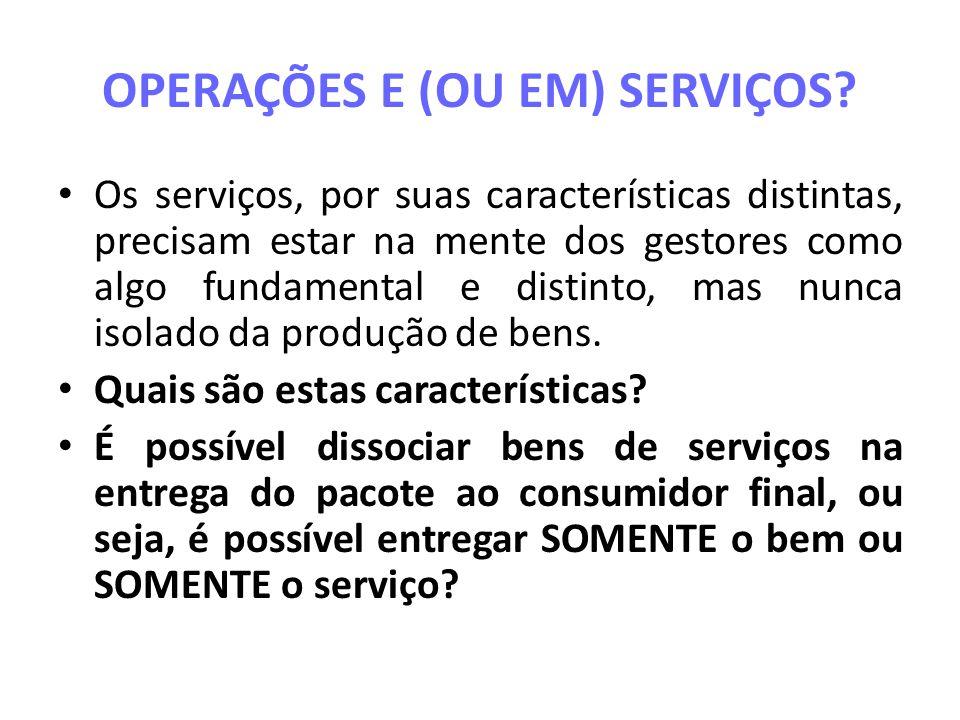 Categorias de Processos de Serviços Qual é natureza do serviço Quem ou o que é o destinatário direto do serviço.