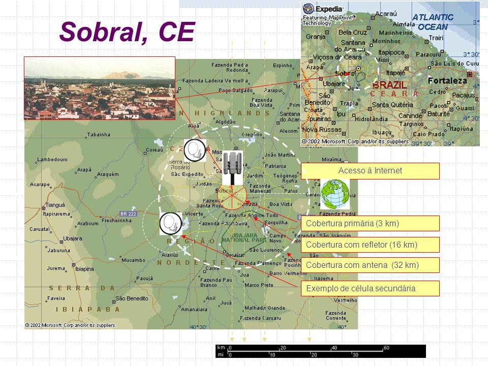 Cobertura com refletor (16 km) Acesso à Internet Cobertura com antena (32 km) Exemplo de célula secundária Cobertura primária (3 km) Sobral, CE