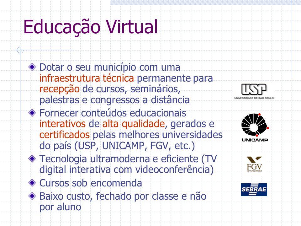 Educação Virtual Dotar o seu município com uma infraestrutura técnica permanente para recepção de cursos, seminários, palestras e congressos a distânc