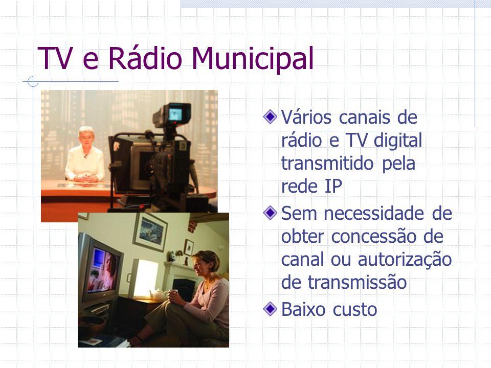 TV e Rádio Municipal Vários canais de rádio e TV digital transmitido pela rede IP Sem necessidade de obter concessão de canal ou autorização de transm