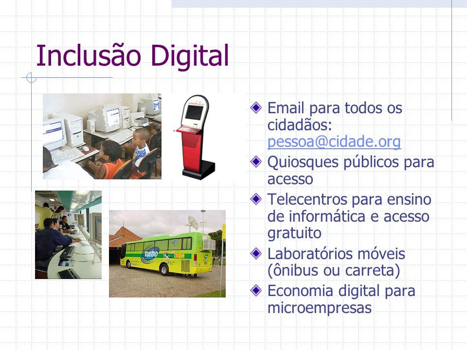 Inclusão Digital Email para todos os cidadãos: pessoa@cidade.org pessoa@cidade.org Quiosques públicos para acesso Telecentros para ensino de informáti