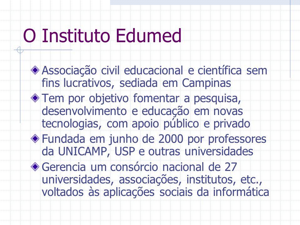 O Instituto Edumed Associação civil educacional e científica sem fins lucrativos, sediada em Campinas Tem por objetivo fomentar a pesquisa, desenvolvi