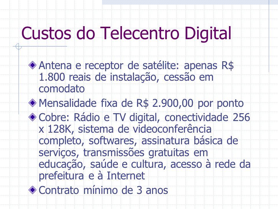 Custos do Telecentro Digital Antena e receptor de satélite: apenas R$ 1.800 reais de instalação, cessão em comodato Mensalidade fixa de R$ 2.900,00 po