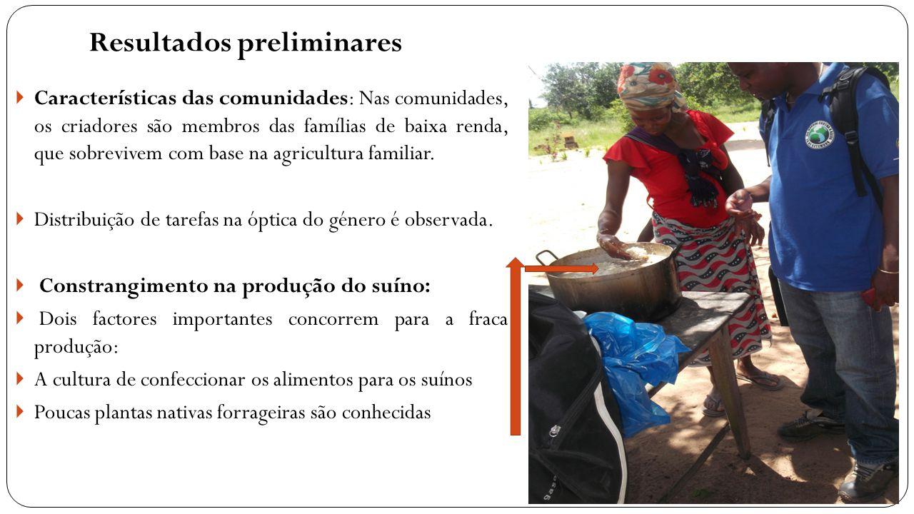 Resultados preliminares  Características das comunidades: Nas comunidades, os criadores são membros das famílias de baixa renda, que sobrevivem com b