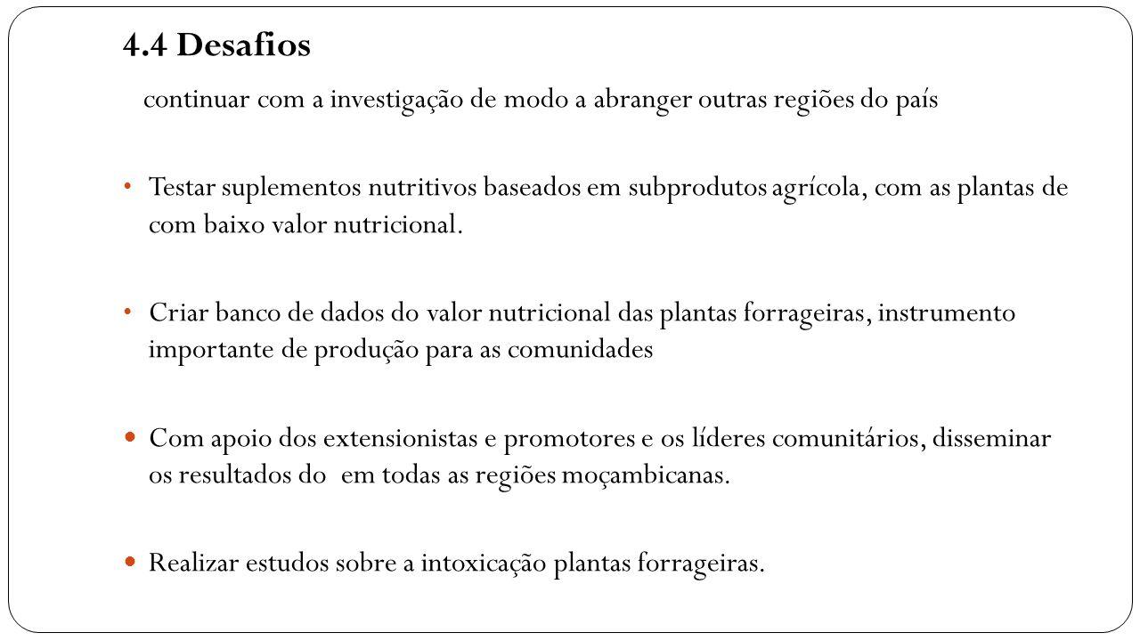 4.4 Desafios continuar com a investigação de modo a abranger outras regiões do país Testar suplementos nutritivos baseados em subprodutos agrícola, co