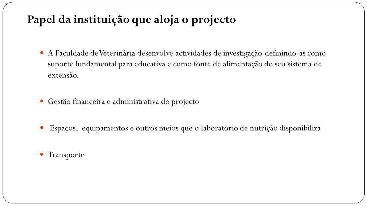 Papel da instituição que aloja o projecto A Faculdade de Veterinária desenvolve actividades de investigação definindo-as como suporte fundamental para
