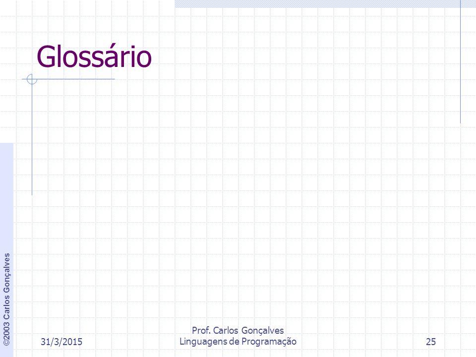 ©2003 Carlos Gonçalves 31/3/2015 Prof. Carlos Gonçalves Linguagens de Programação25 Glossário