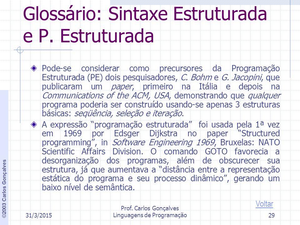 ©2003 Carlos Gonçalves 31/3/2015 Prof.