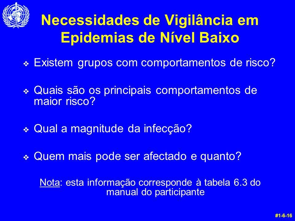 Necessidades de Vigilância em Epidemias de Nível Baixo v Existem grupos com comportamentos de risco? v Quais são os principais comportamentos de maior