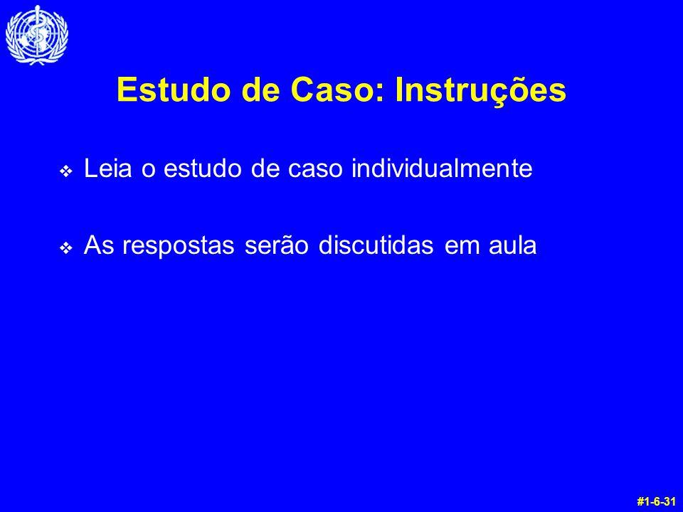 Estudo de Caso: Instruções v Leia o estudo de caso individualmente v As respostas serão discutidas em aula #1-6-31