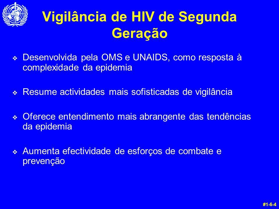 Vigilância de HIV de Segunda Geração v Desenvolvida pela OMS e UNAIDS, como resposta à complexidade da epidemia v Resume actividades mais sofisticadas