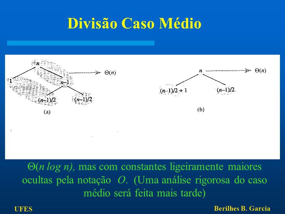 UFES Berilhes B. Garcia Divisão Caso Médio A combinação de boas e más divisões resultaria em T(n) =  (n log n), mas com constantes ligeiramente maior