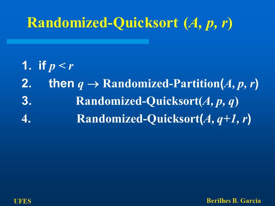 UFES Berilhes B. Garcia Randomized-Quicksort (A, p, r) 1. if p < r 2. then q  Randomized-Partition ( A, p, r ) 3. Randomized-Quicksort(A, p, q) 4. Ra
