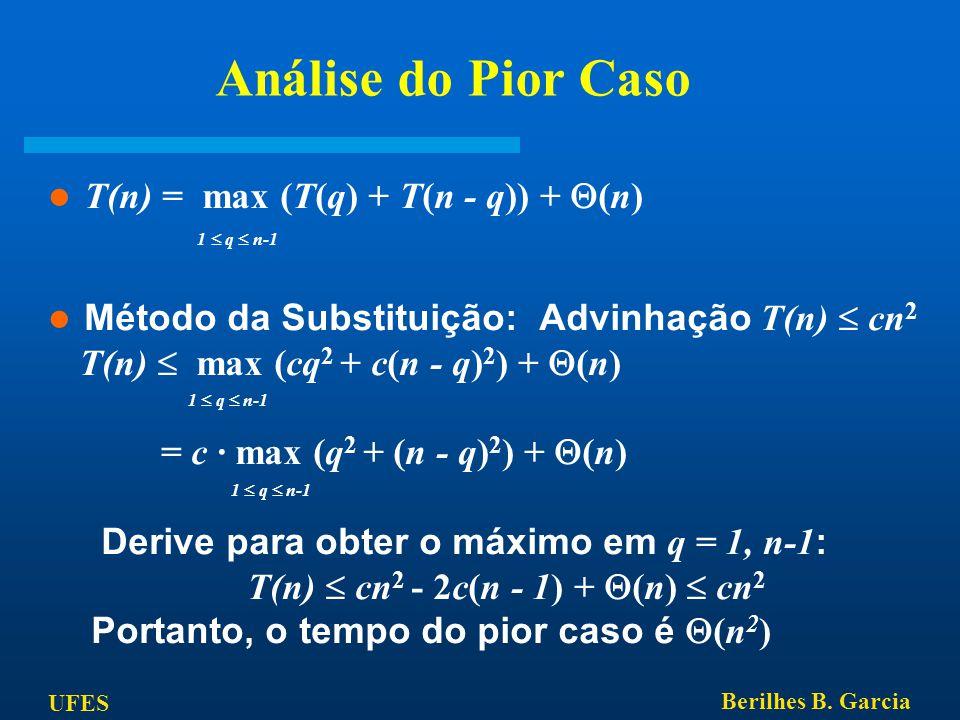UFES Berilhes B. Garcia Análise do Pior Caso T(n) = max (T(q) + T(n - q)) +  (n) 1  q  n-1 Método da Substituição: Advinhação T(n)  cn 2 T(n)  ma