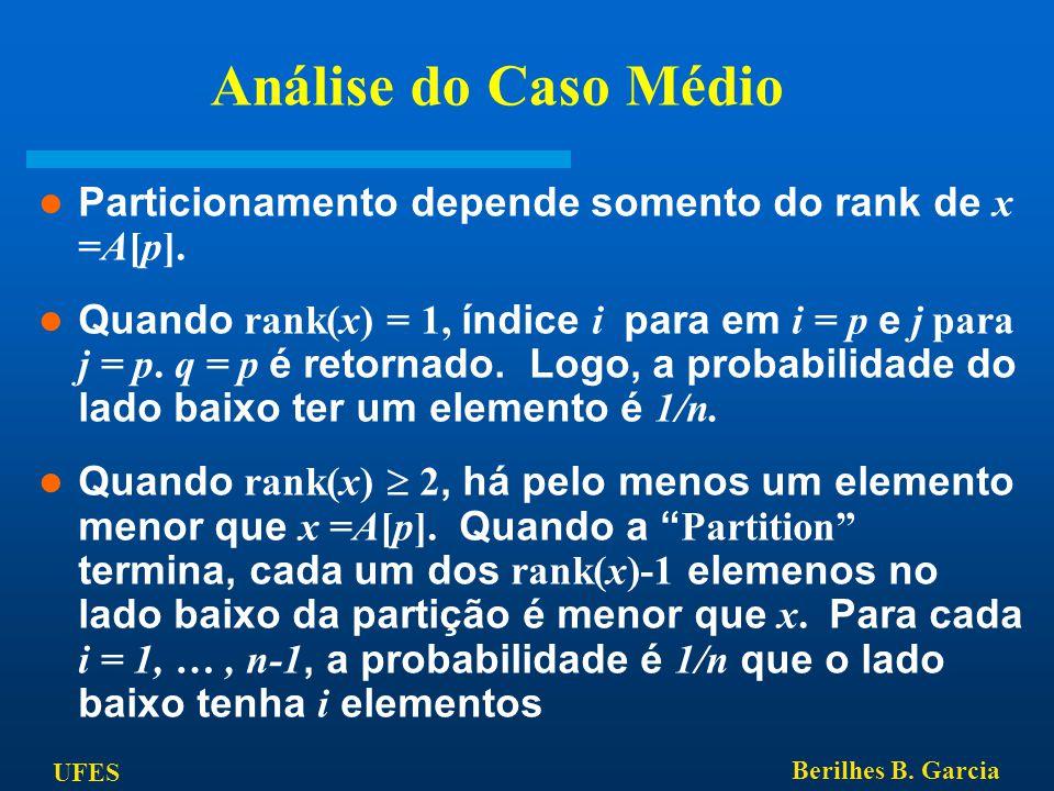 UFES Berilhes B. Garcia Análise do Caso Médio Particionamento depende somento do rank de x =A[p]. Quando rank(x) = 1, índice i para em i = p e j para