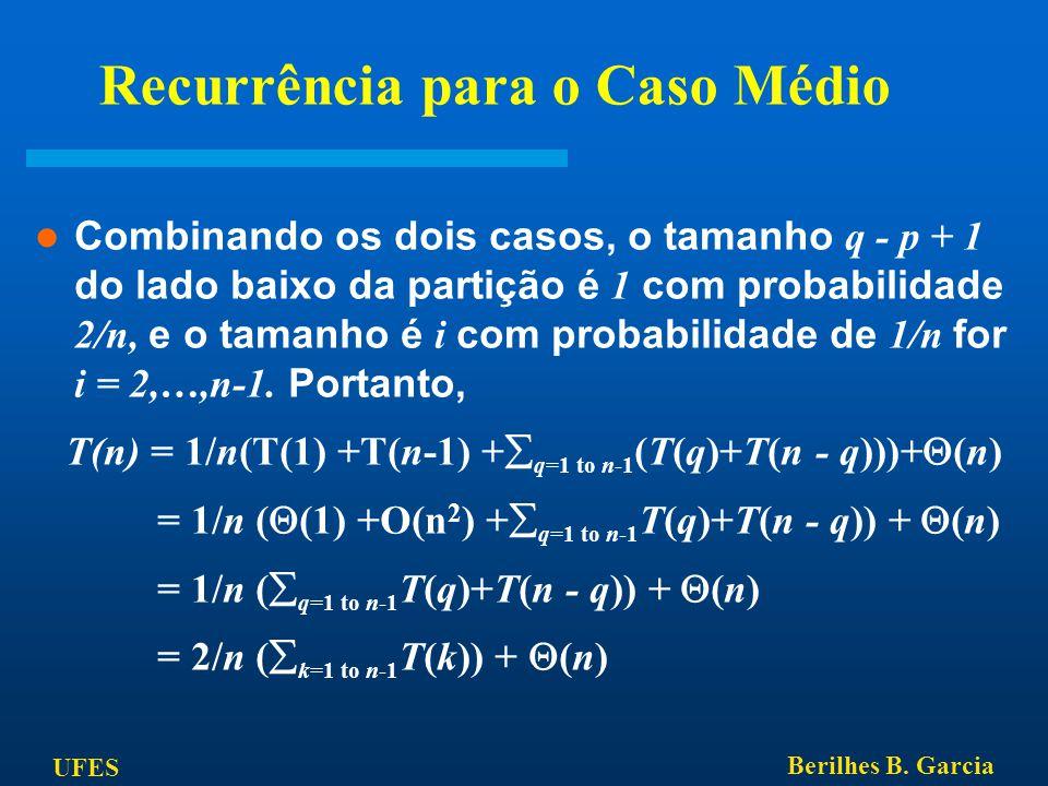 UFES Berilhes B. Garcia Recurrência para o Caso Médio Combinando os dois casos, o tamanho q - p + 1 do lado baixo da partição é 1 com probabilidade 2/