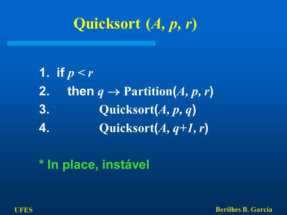 UFES Berilhes B. Garcia Quicksort (A, p, r) 1. if p < r 2. then q  Partition ( A, p, r ) 3. Quicksort ( A, p, q ) 4. Quicksort ( A, q+1, r ) * In pla
