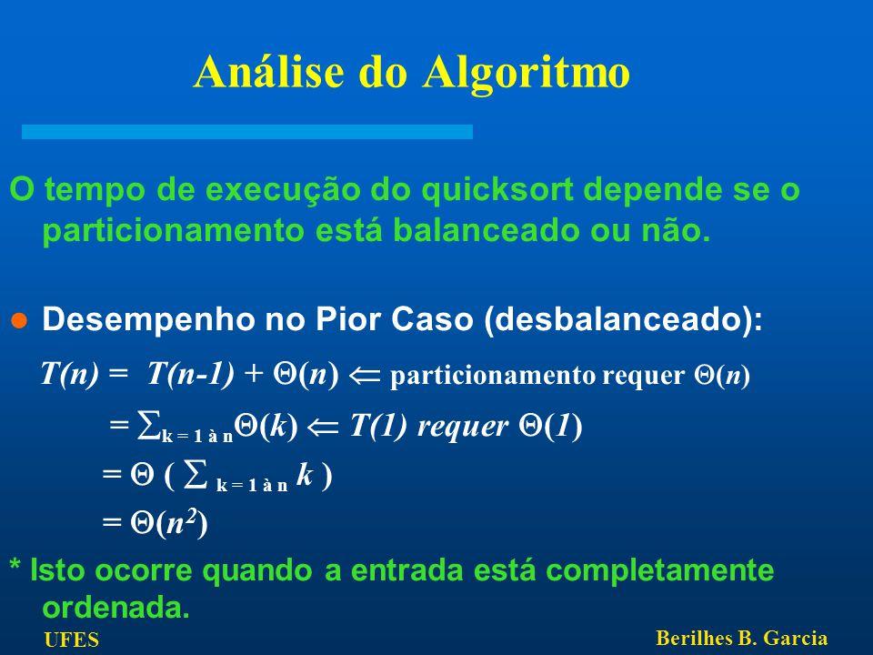 UFES Berilhes B. Garcia Análise do Algoritmo O tempo de execução do quicksort depende se o particionamento está balanceado ou não. Desempenho no Pior