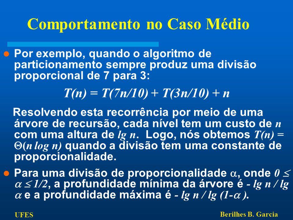 UFES Berilhes B. Garcia Comportamento no Caso Médio Por exemplo, quando o algoritmo de particionamento sempre produz uma divisão proporcional de 7 par