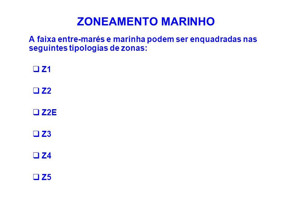 ZONEAMENTO MARINHO A faixa entre-marés e marinha podem ser enquadradas nas seguintes tipologias de zonas:  Z1  Z2  Z2E  Z3  Z4  Z5