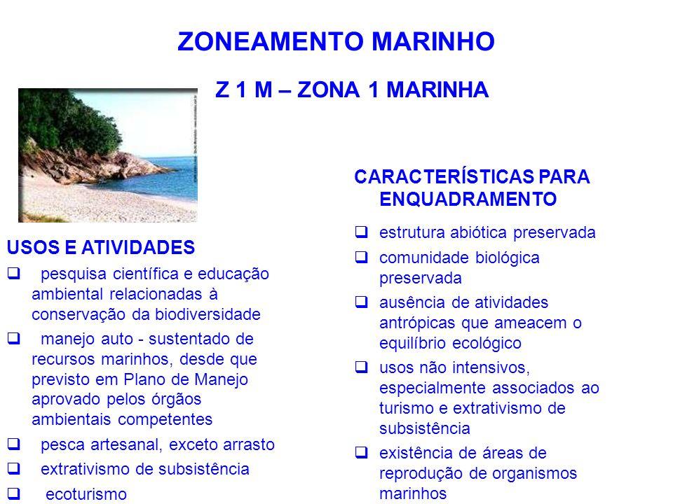 ZONEAMENTO MARINHO Z 1 M – ZONA 1 MARINHA USOS E ATIVIDADES  pesquisa científica e educação ambiental relacionadas à conservação da biodiversidade 