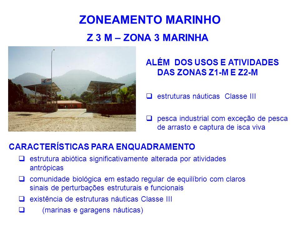 ZONEAMENTO MARINHO Z 3 M – ZONA 3 MARINHA ALÉM DOS USOS E ATIVIDADES DAS ZONAS Z1-M E Z2-M  estruturas náuticas Classe III  pesca industrial com exc
