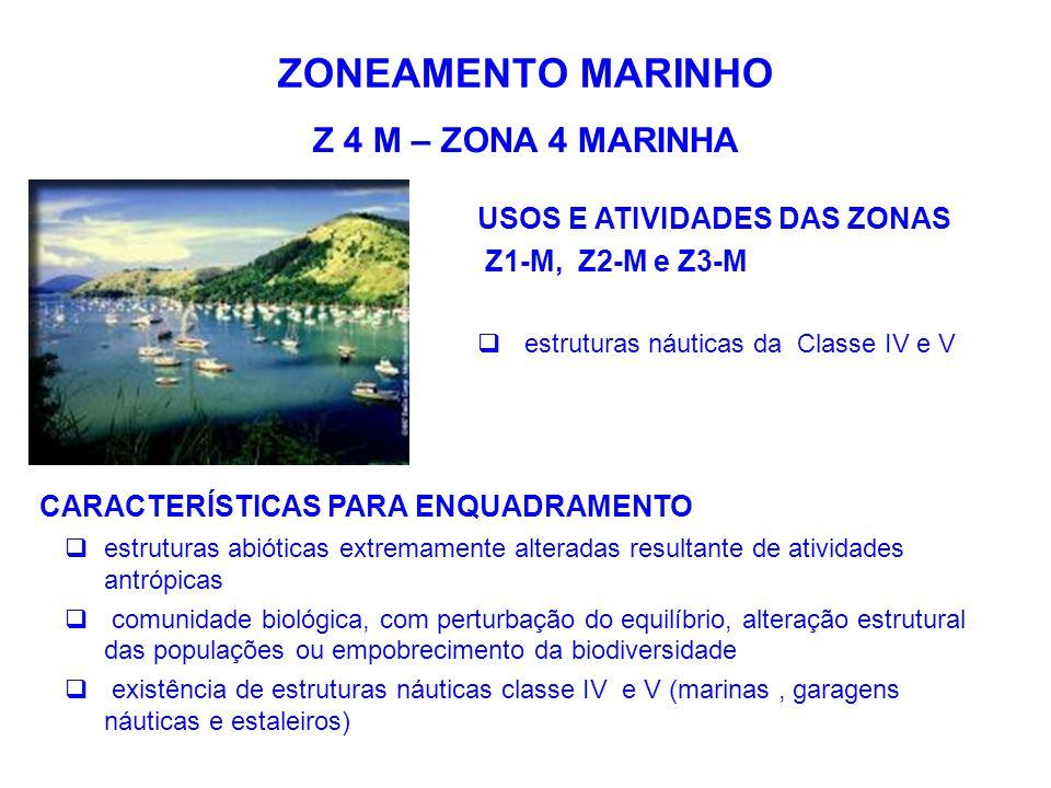 ZONEAMENTO MARINHO Z 4 M – ZONA 4 MARINHA USOS E ATIVIDADES DAS ZONAS Z1-M, Z2-M e Z3-M  estruturas náuticas da Classe IV e V CARACTERÍSTICAS PARA EN