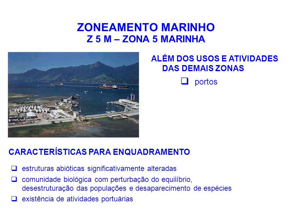 ZONEAMENTO MARINHO Z 5 M – ZONA 5 MARINHA ALÉM DOS USOS E ATIVIDADES DAS DEMAIS ZONAS  portos CARACTERÍSTICAS PARA ENQUADRAMENTO  estruturas abiótic