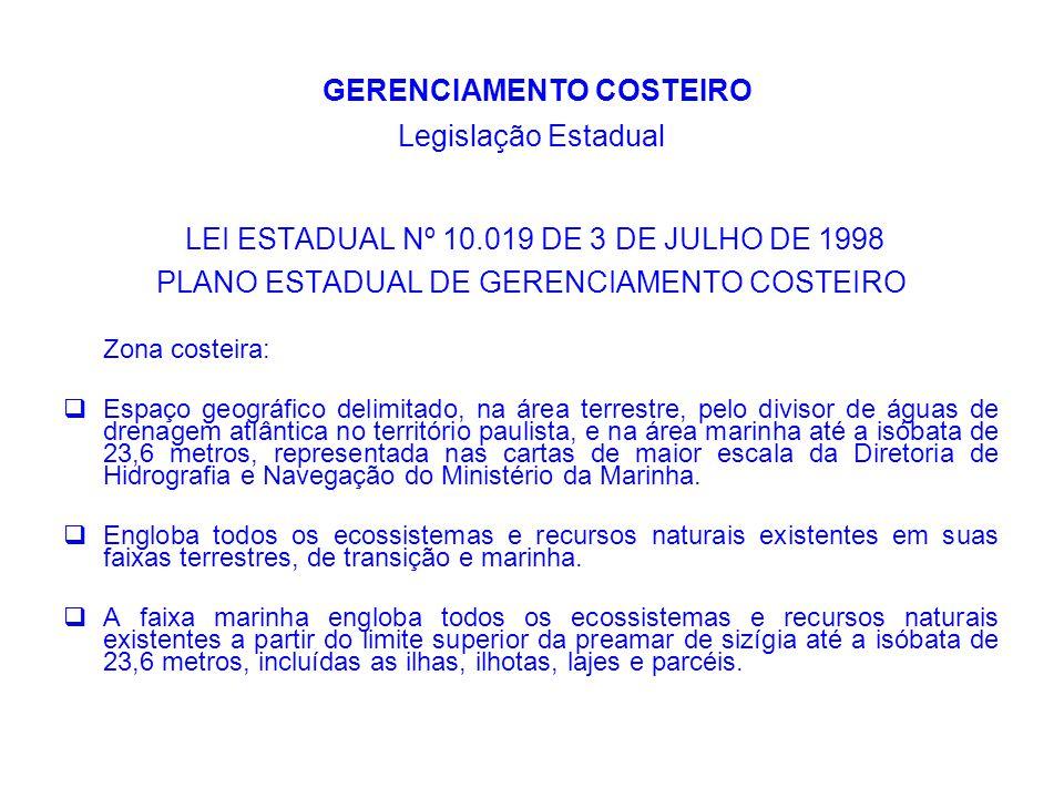 GERENCIAMENTO COSTEIRO Legislação Estadual Decreto Estadual n° 47.303 de 07 de novembro de 2002 Institui e disciplina a composição e o funcionamento do Grupo de Coordenação Estadual e dos Grupos Setoriais de Coordenação.