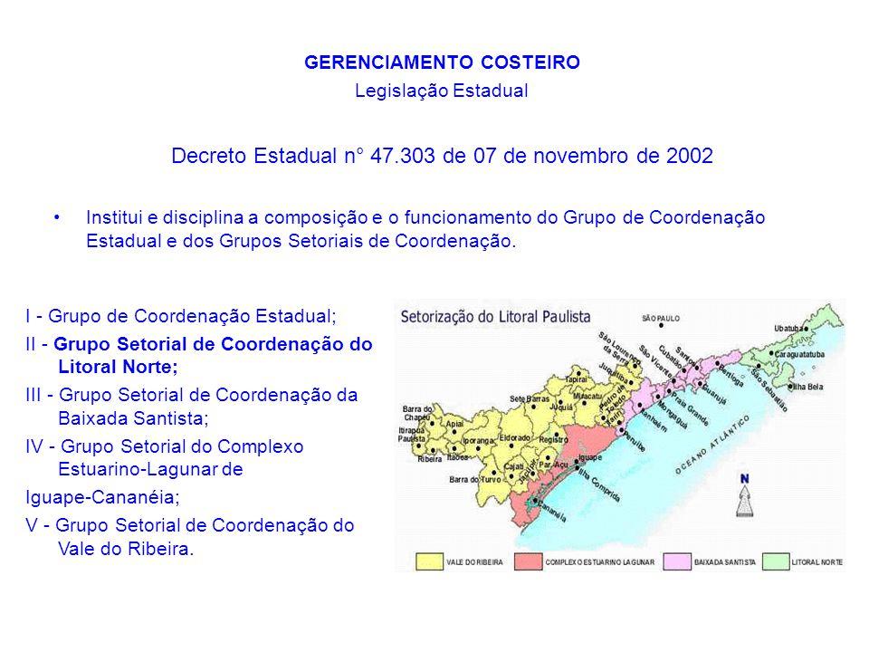 GERENCIAMENTO COSTEIRO Legislação Estadual Decreto Estadual n° 47.303 de 07 de novembro de 2002 Institui e disciplina a composição e o funcionamento d
