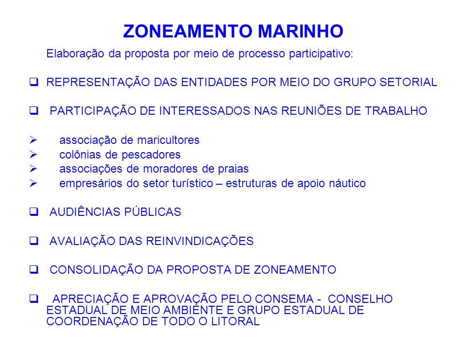 ZONEAMENTO MARINHO Elaboração da proposta por meio de processo participativo:  REPRESENTAÇÃO DAS ENTIDADES POR MEIO DO GRUPO SETORIAL  PARTICIPAÇÃO