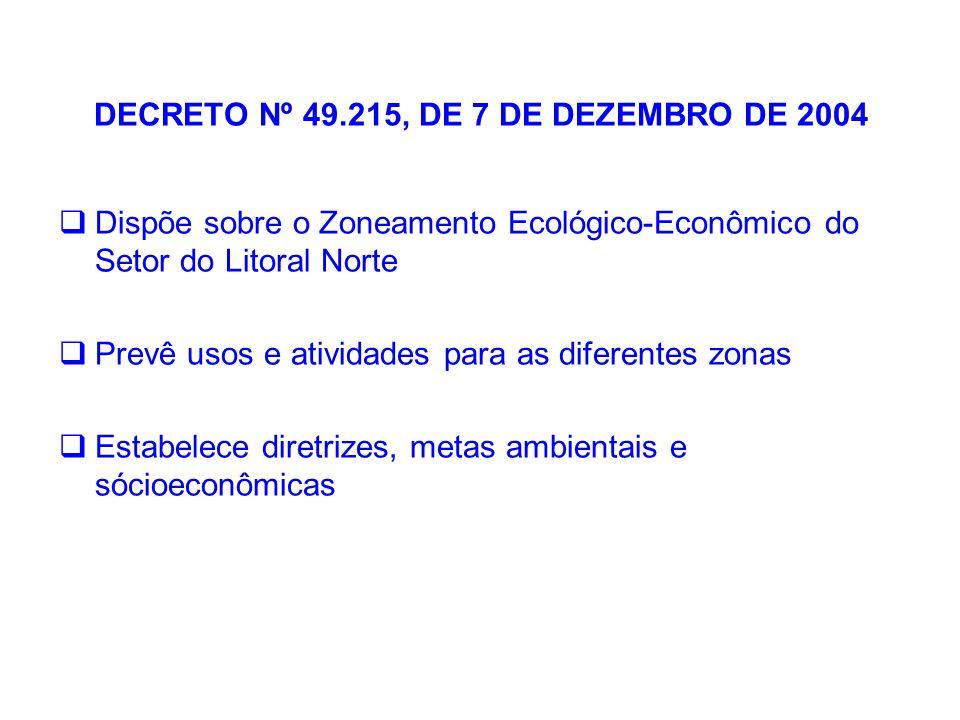 DECRETO Nº 49.215, DE 7 DE DEZEMBRO DE 2004  Dispõe sobre o Zoneamento Ecológico-Econômico do Setor do Litoral Norte  Prevê usos e atividades para a