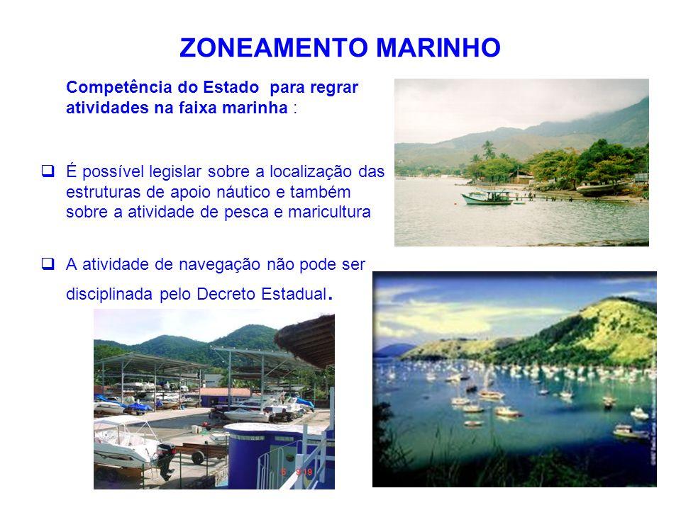 ZONEAMENTO MARINHO As normas de usos e diretrizes definidas para o Zoneamento Marinho aplicam-se:  Faixa entre-marés: área entre a preamar e baixa-mar de sizígia;  Faixa marítima: área entre a baixa-mar de sizígia e a isóbata de 23,6m.
