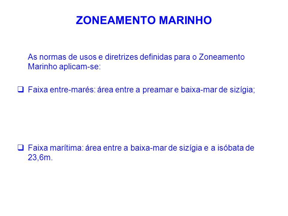 ZONEAMENTO MARINHO As normas de usos e diretrizes definidas para o Zoneamento Marinho aplicam-se:  Faixa entre-marés: área entre a preamar e baixa-ma