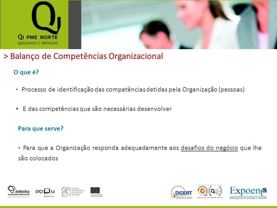 > Balanço de Competências Organizacional O que é? Processo de identificação das competências detidas pela Organização (pessoas) E das competências que