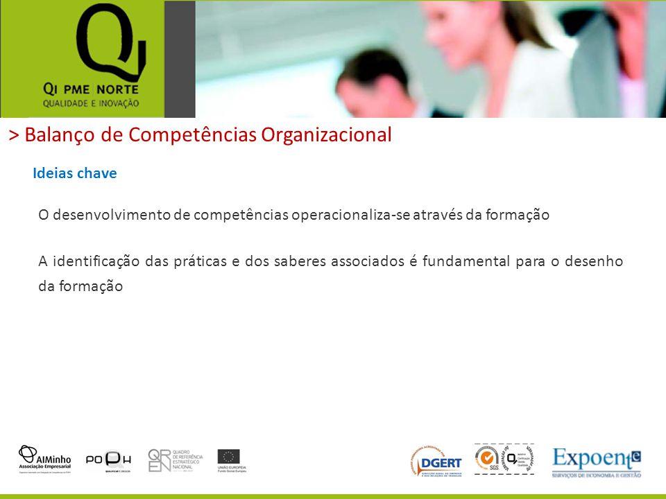 > Balanço de Competências Organizacional Ideias chave O desenvolvimento de competências operacionaliza-se através da formação A identificação das prát