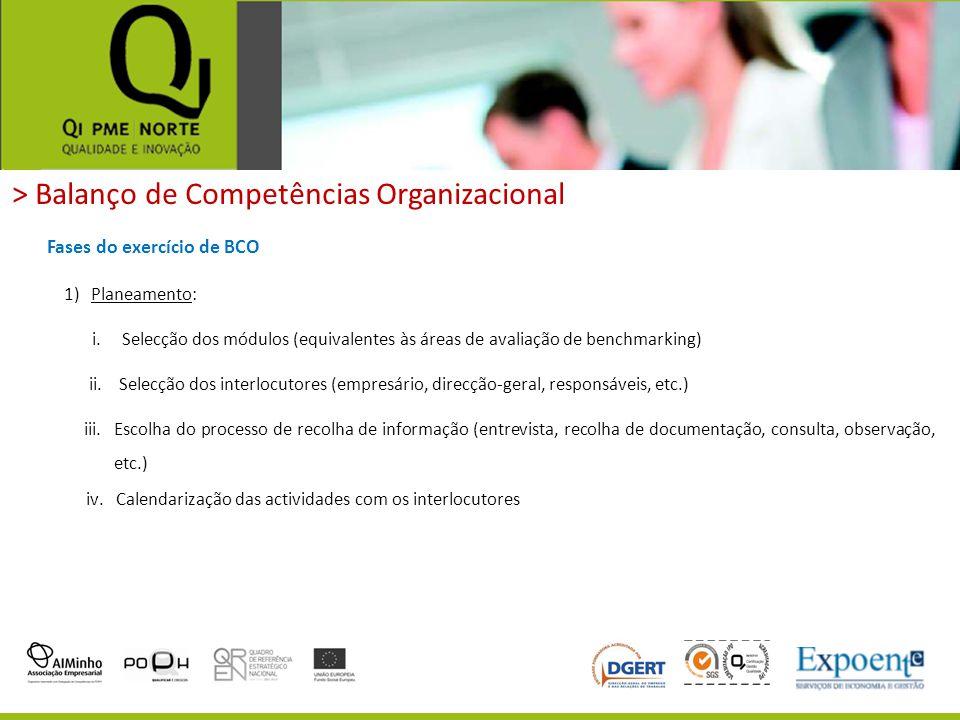 > Balanço de Competências Organizacional 1)Planeamento: Fases do exercício de BCO i.Selecção dos módulos (equivalentes às áreas de avaliação de benchm