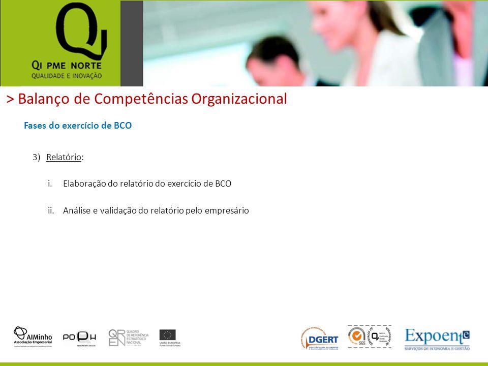 > Balanço de Competências Organizacional Fases do exercício de BCO 3)Relatório: i.Elaboração do relatório do exercício de BCO ii.Análise e validação d