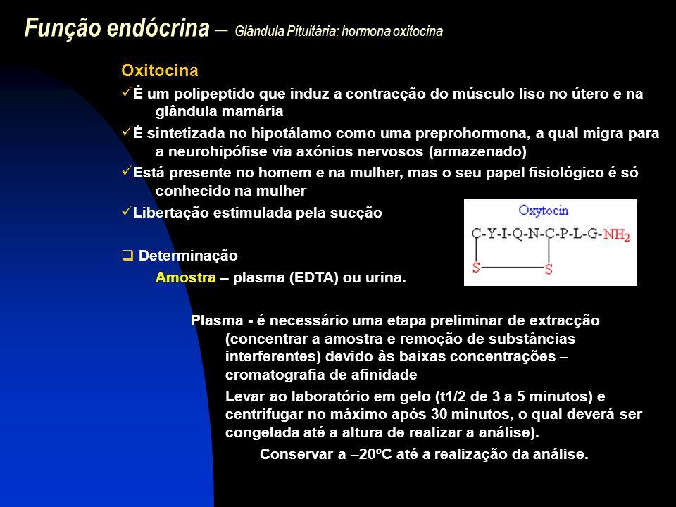 Função endócrina – Glândula Pituitária: hormona oxitocina Oxitocina É um polipeptido que induz a contracção do músculo liso no útero e na glândula mam