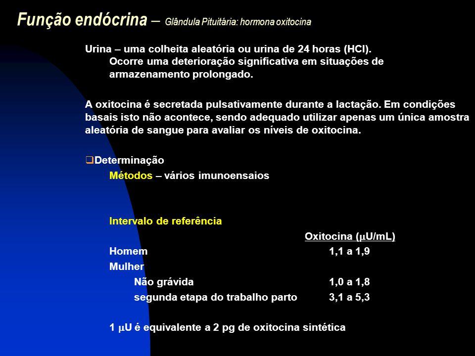 Função endócrina – Glândula Pituitária: hormona oxitocina Urina – uma colheita aleatória ou urina de 24 horas (HCl). Ocorre uma deterioração significa
