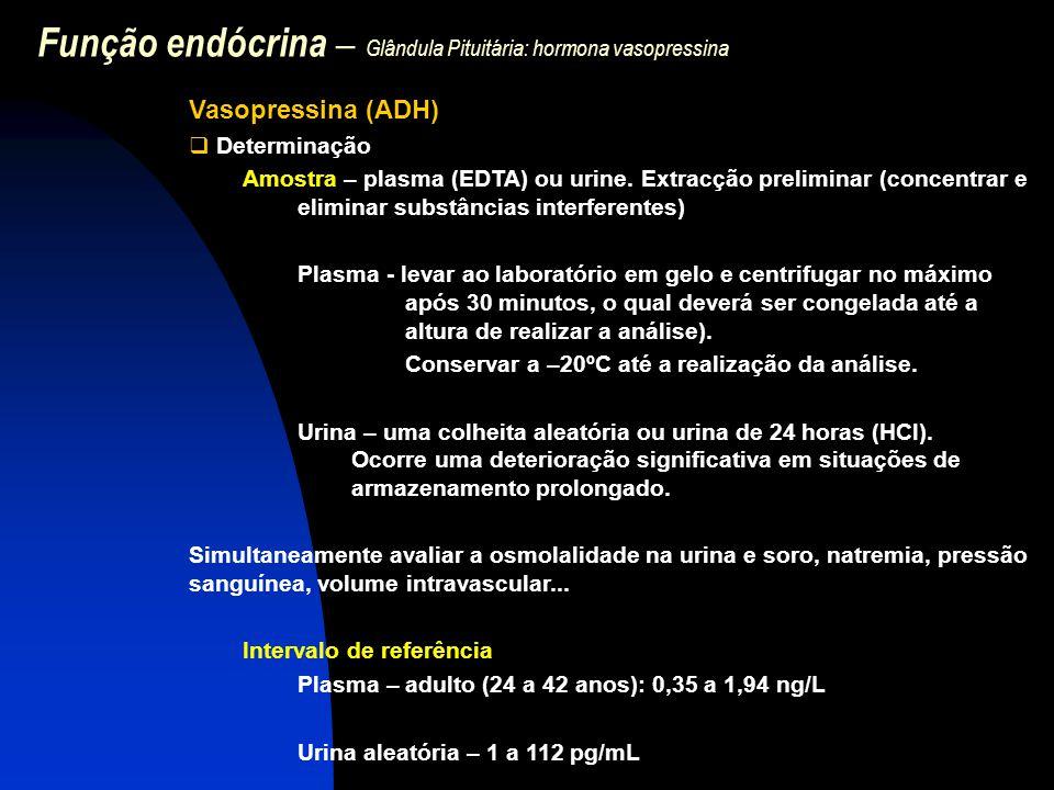 Função endócrina – Glândula Pituitária: hormona vasopressina Vasopressina (ADH)  Determinação Amostra – plasma (EDTA) ou urine. Extracção preliminar